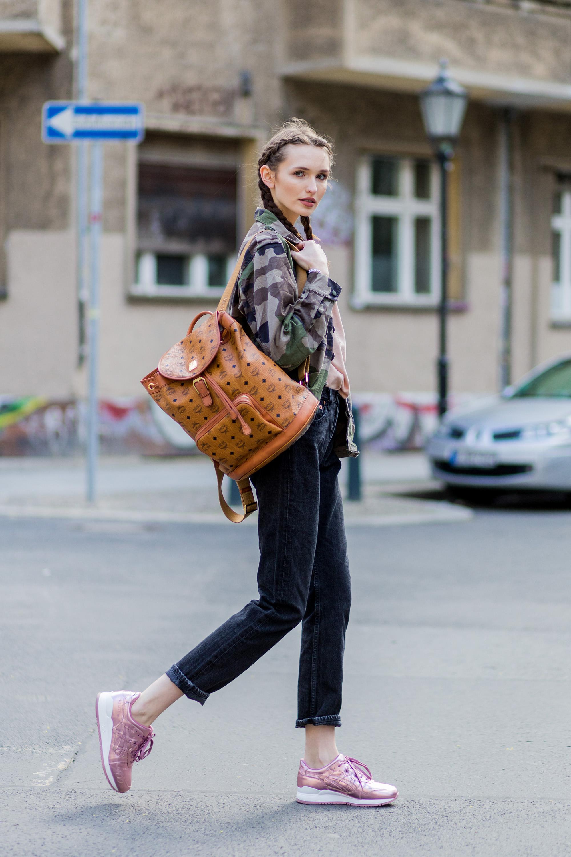 Кожаный рюкзак с принтом