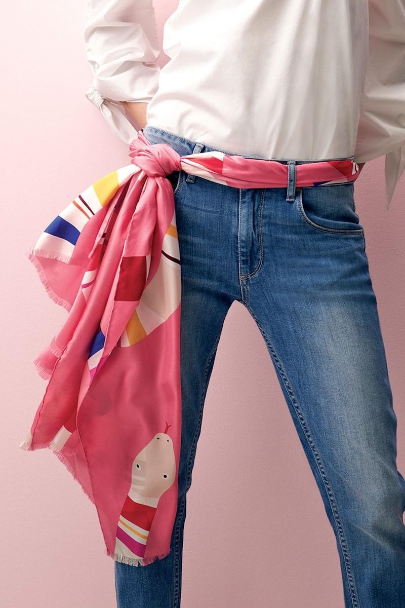 Шелковый шарф розовый