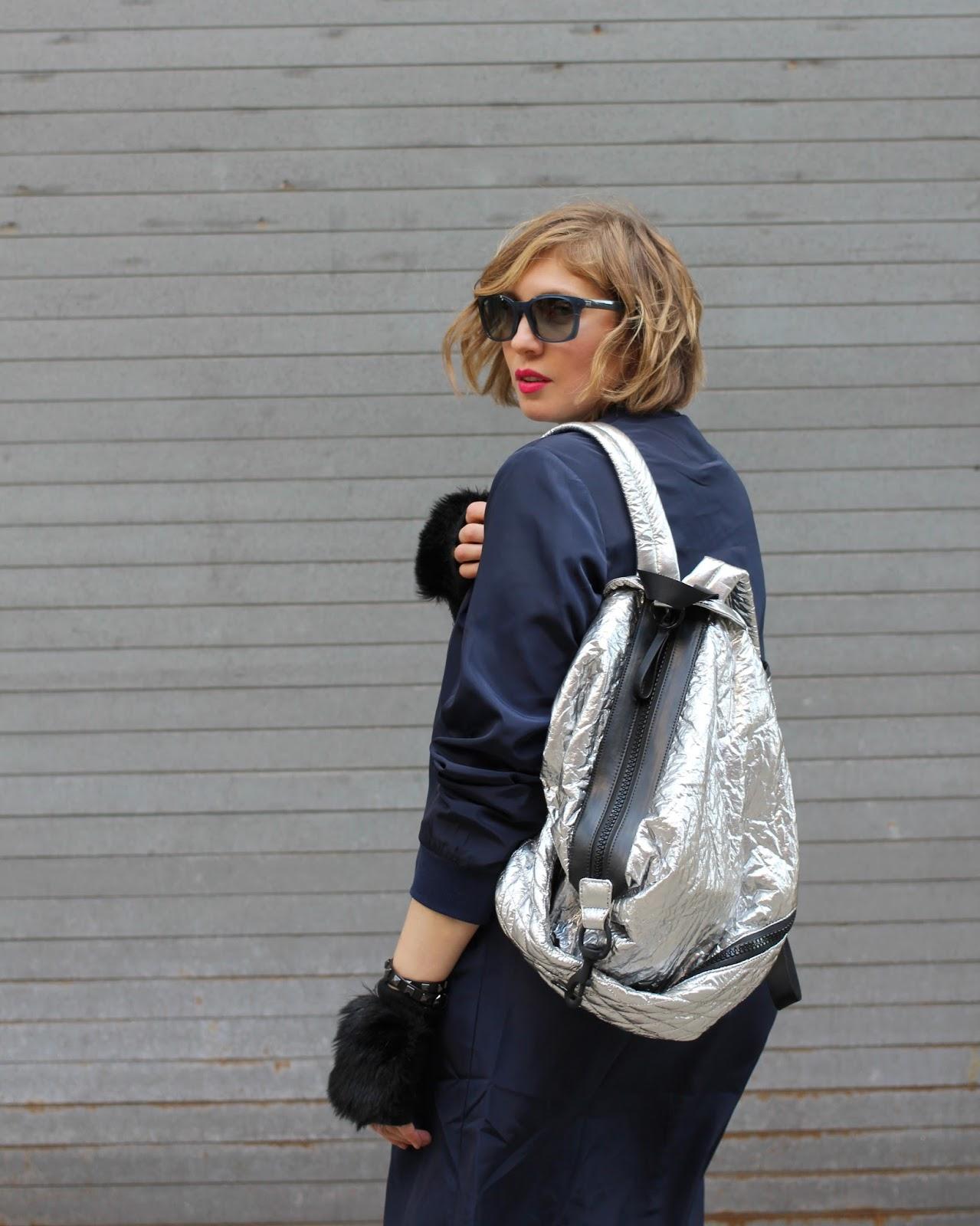 Кожаный рюкзак серебряный