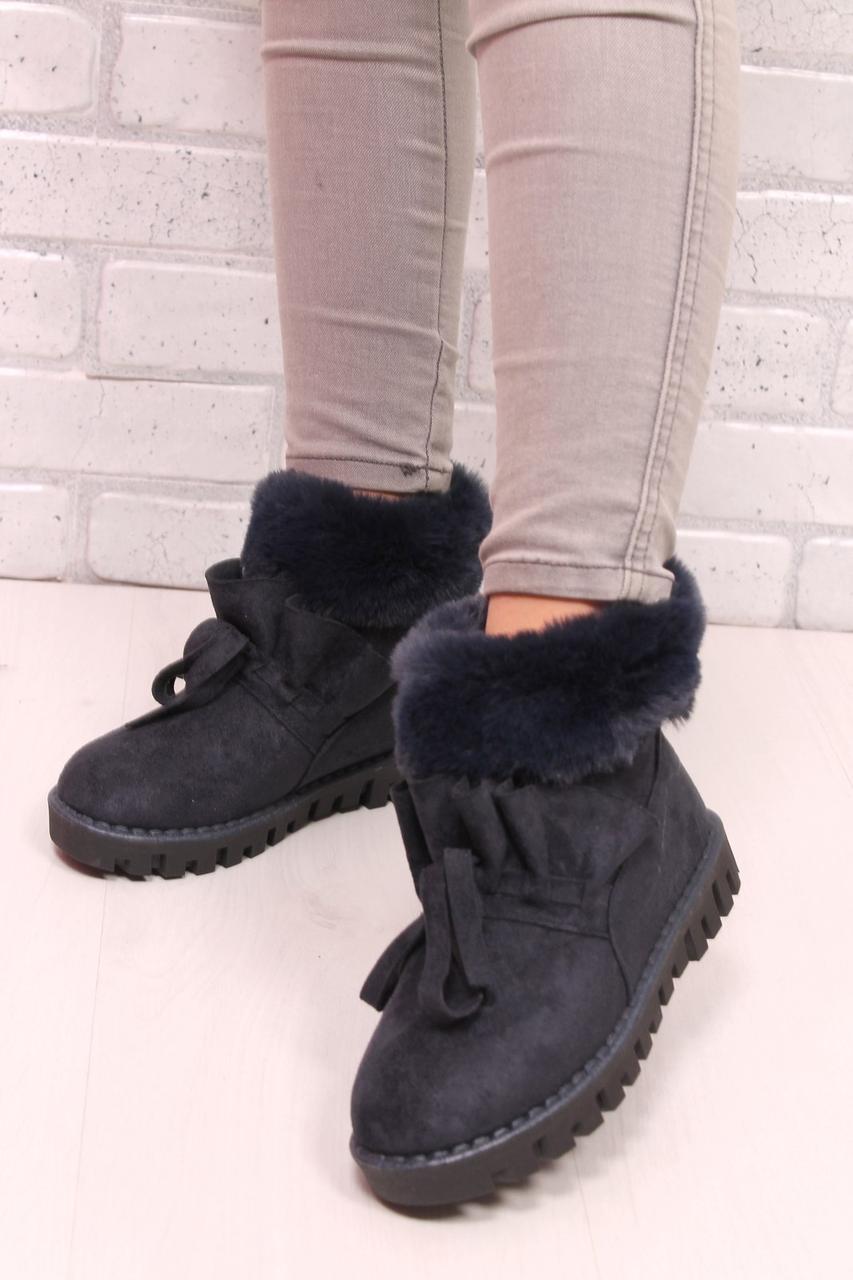 Ботинки с синим мехом