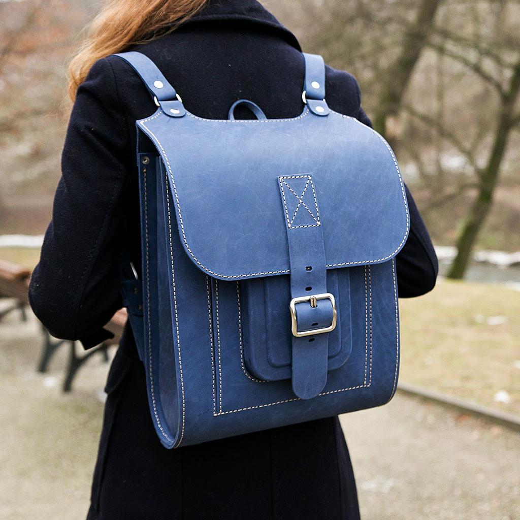 Кожаный рюкзак синий
