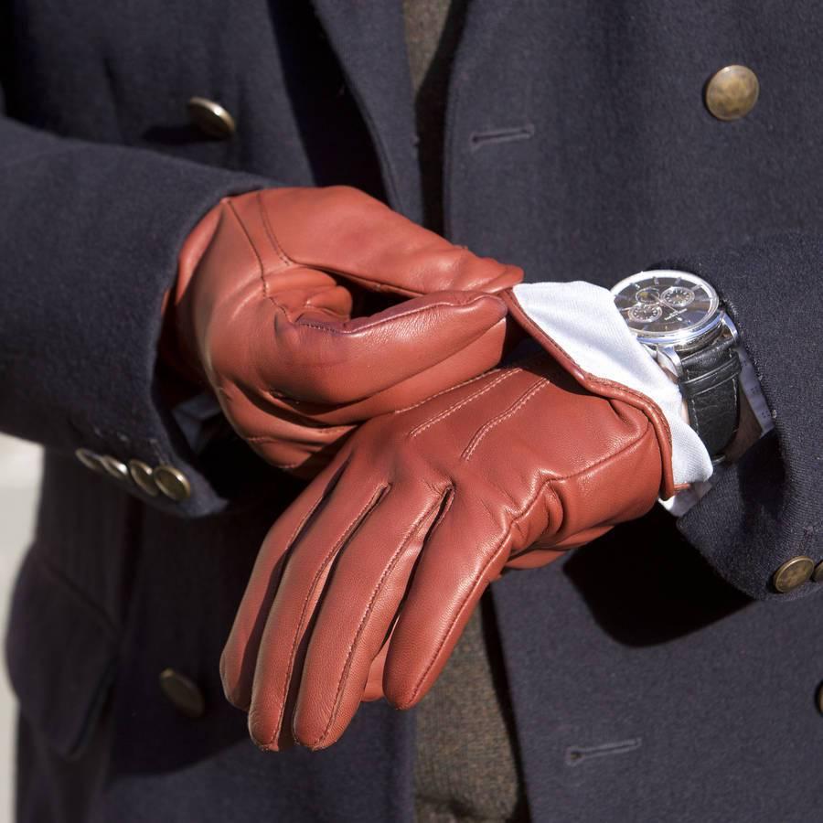 Мужские перчатки терракотовые