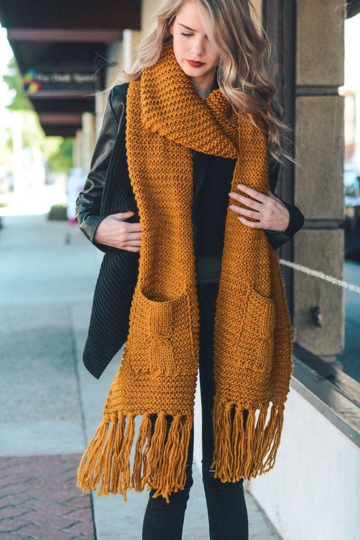 Вязаный шарф терракотовый