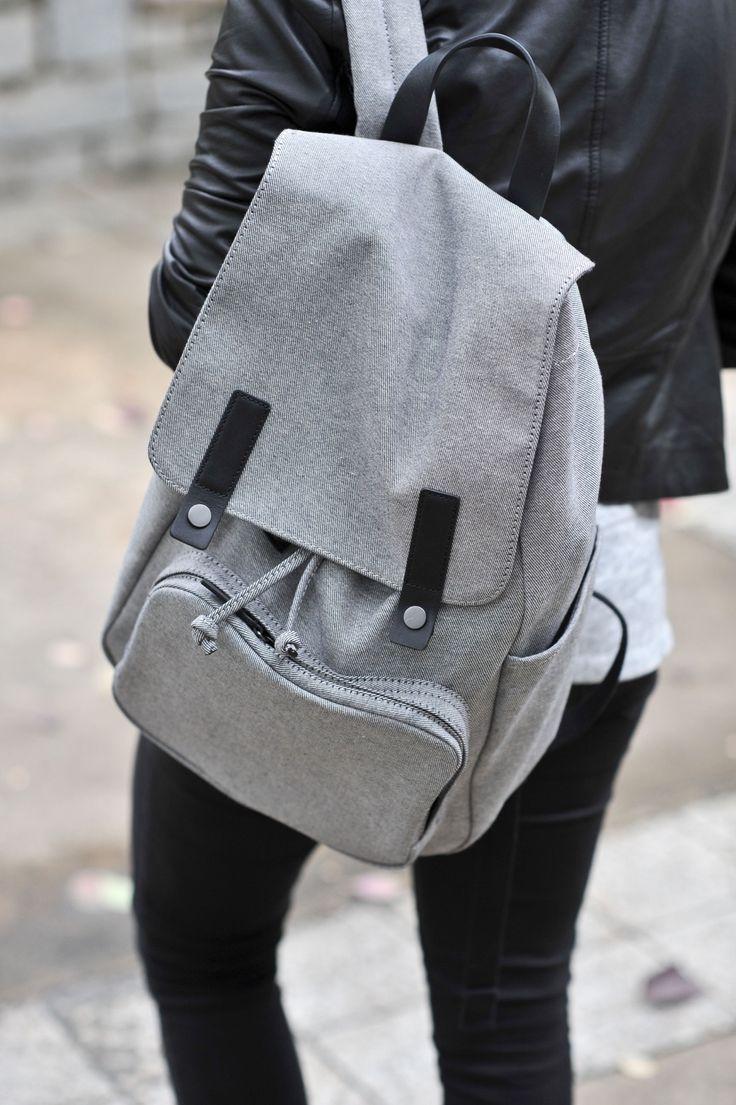 Серый рюкзак тканевый