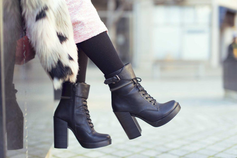 Ботинки с мехом внутри на каблуке