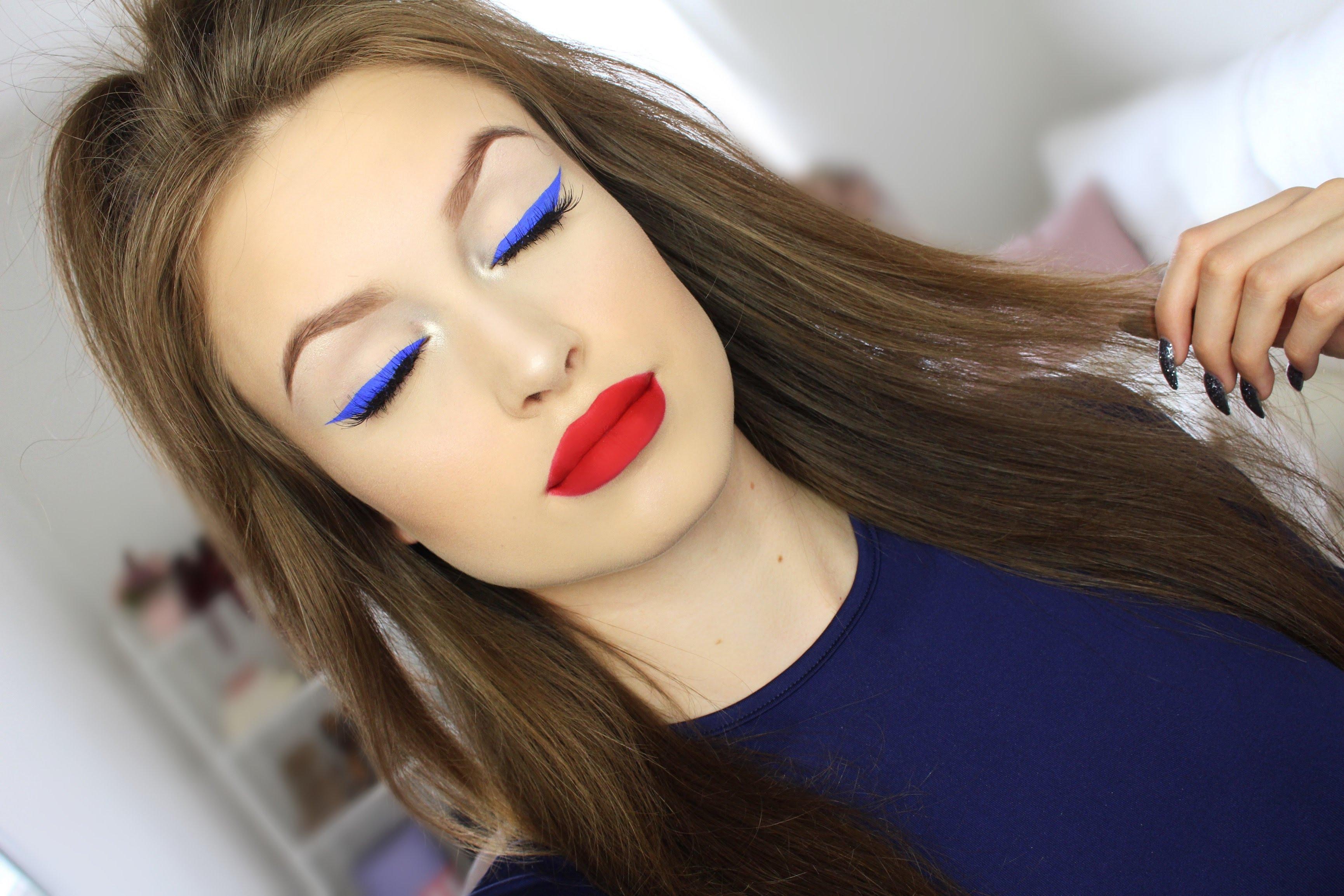 Синий макияж электрик