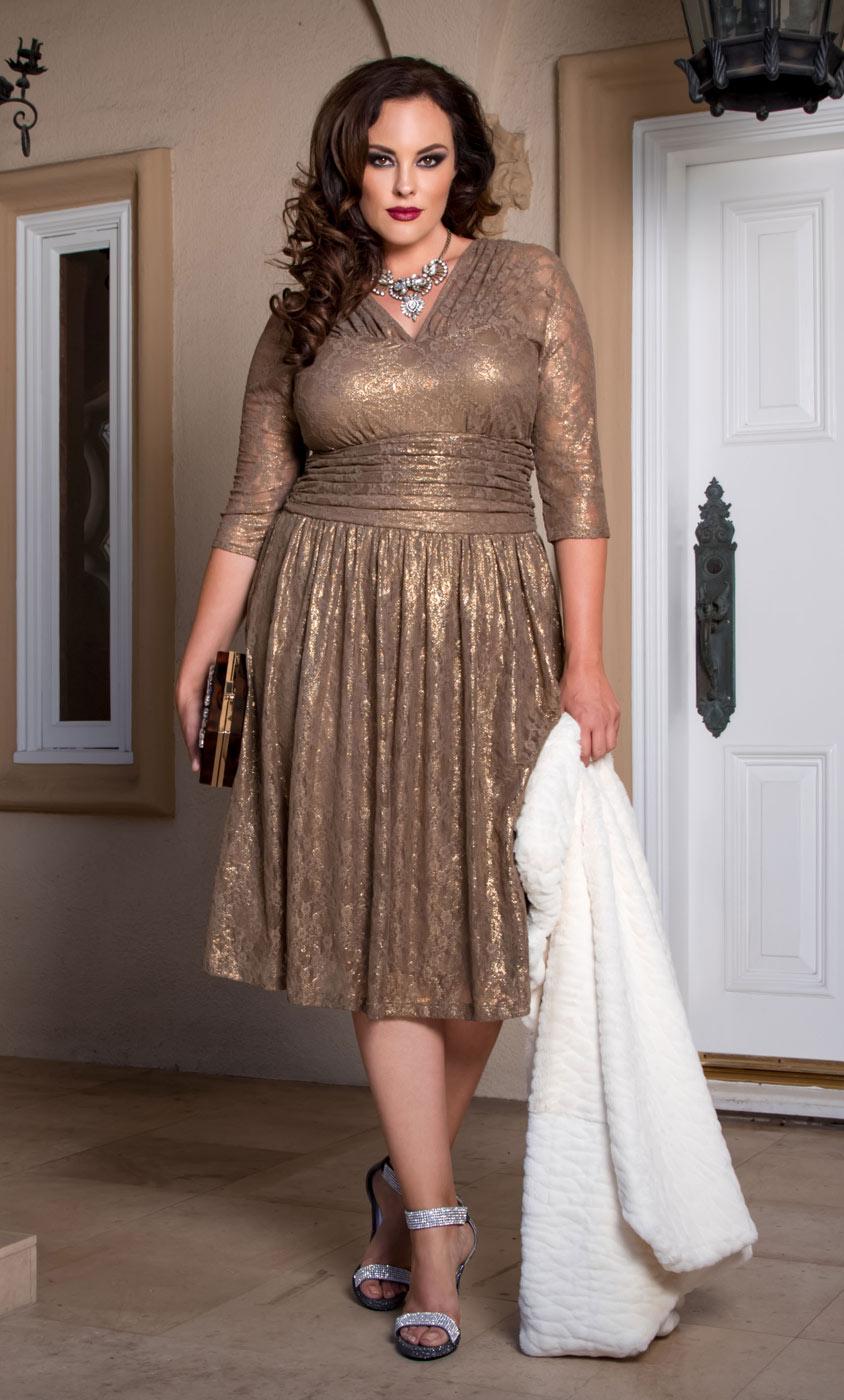 Вечернее платье для полных металлик