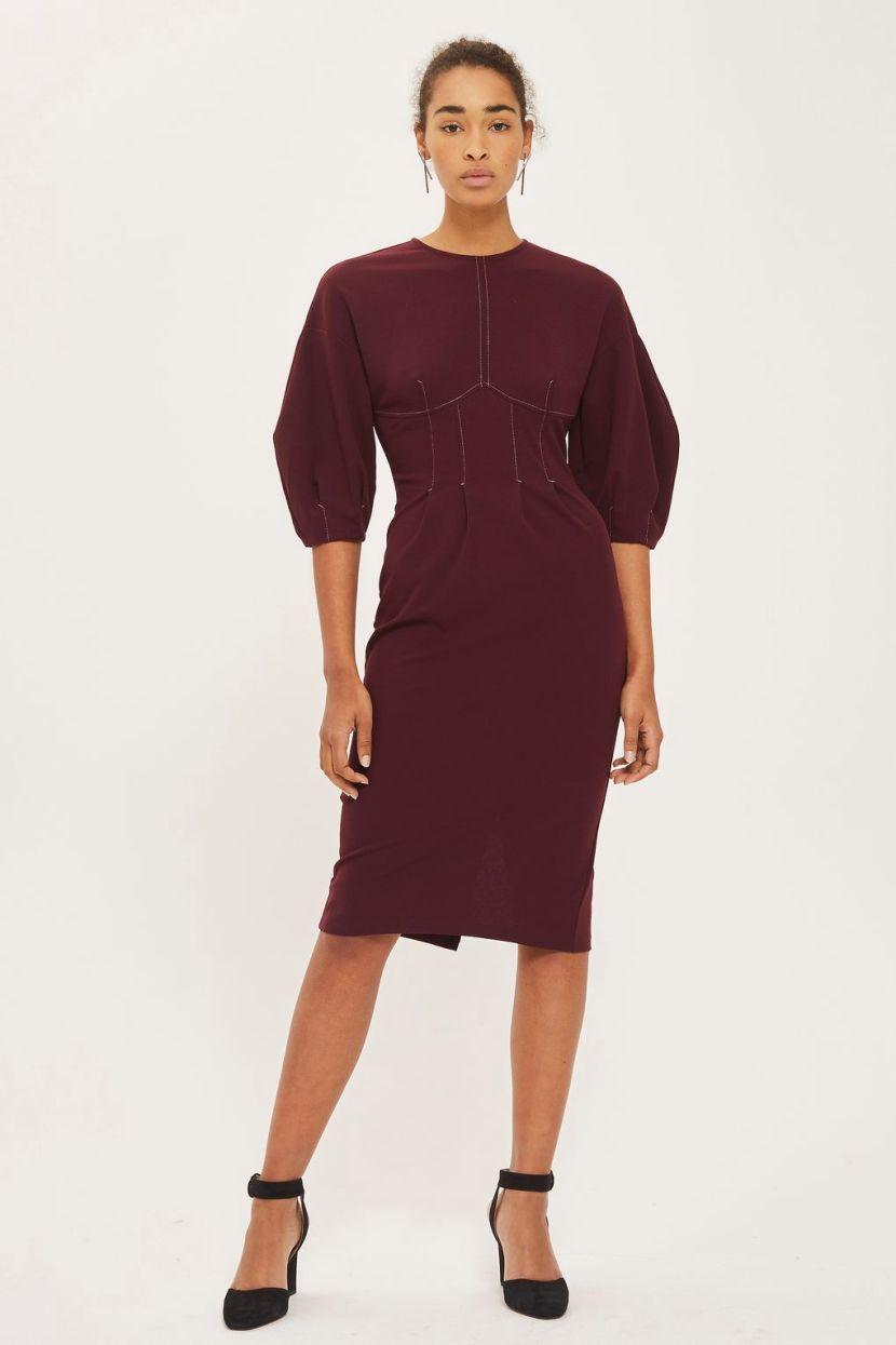 Платье для женщины 40 лет офисное с рукавами фонариками