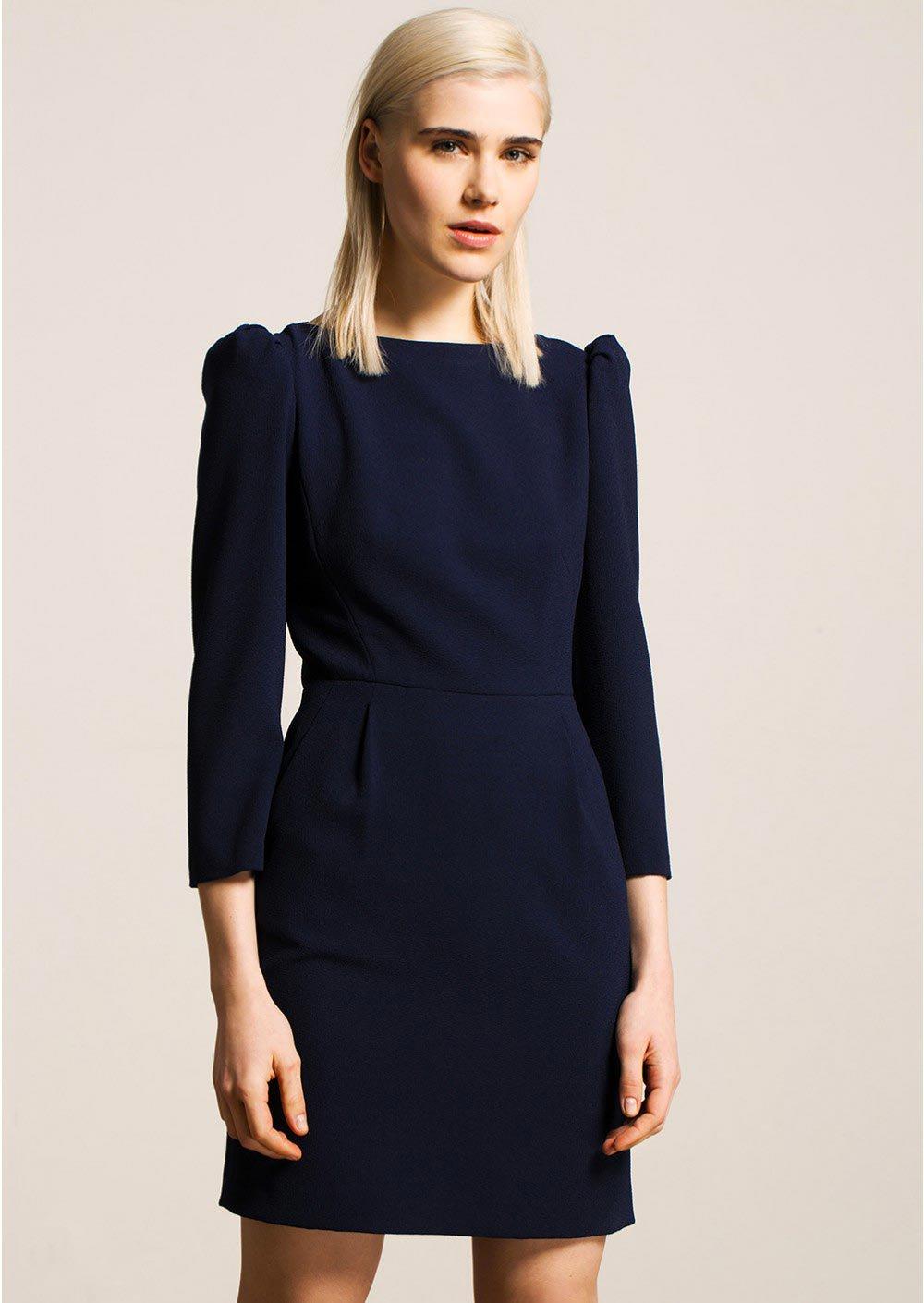 Платье зима 2018 синее офисное