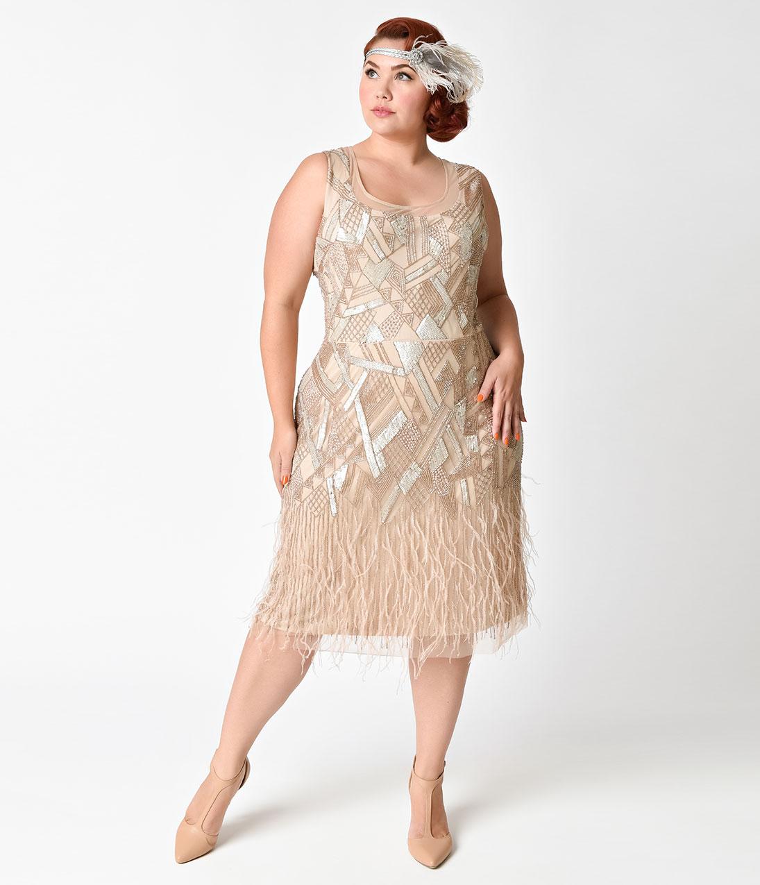 Вечернее платье для полных с перьями