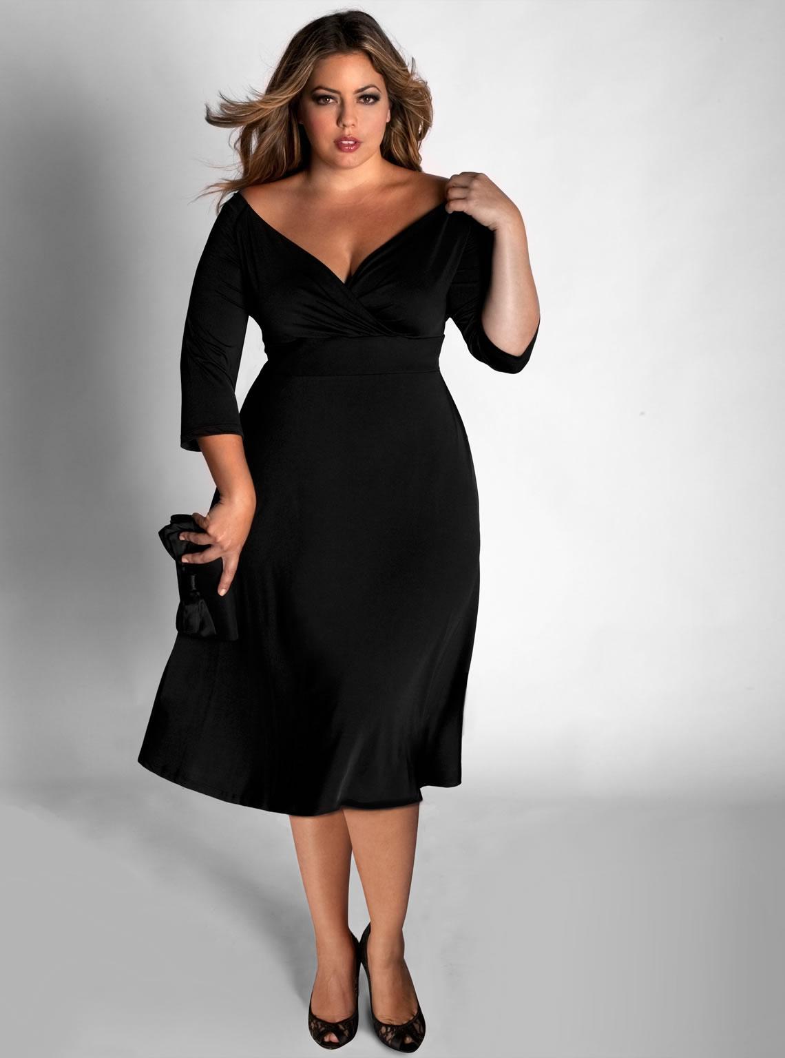Вечернее платье для полных приталенное