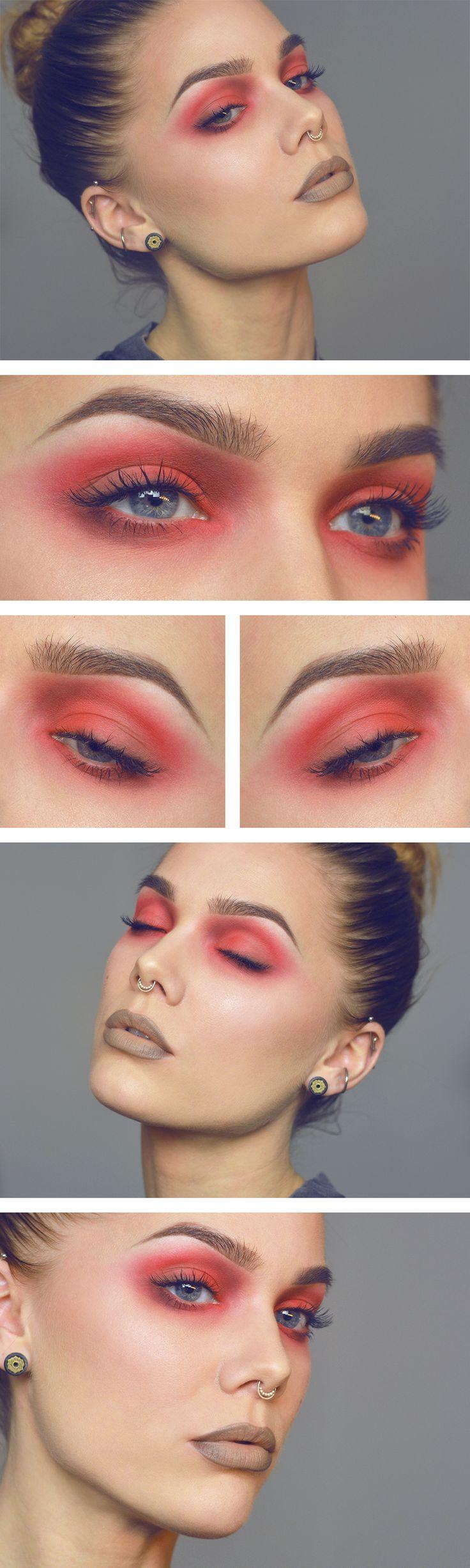 Красный макияж для русых