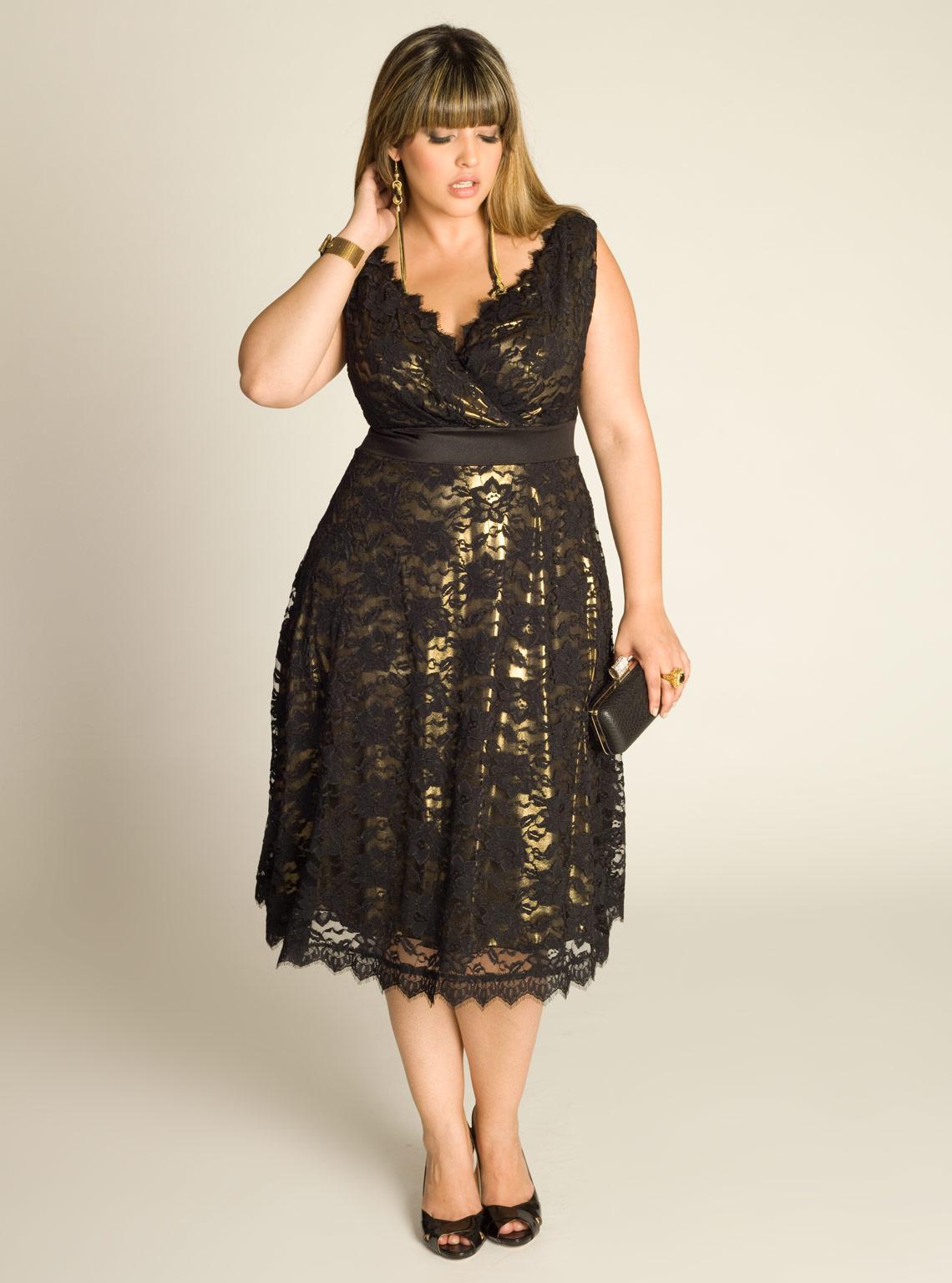 Вечернее платье для полных золотое