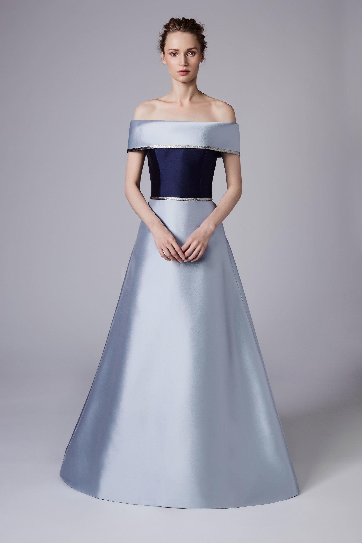 Свадебное платье 2018 из голубого атласа