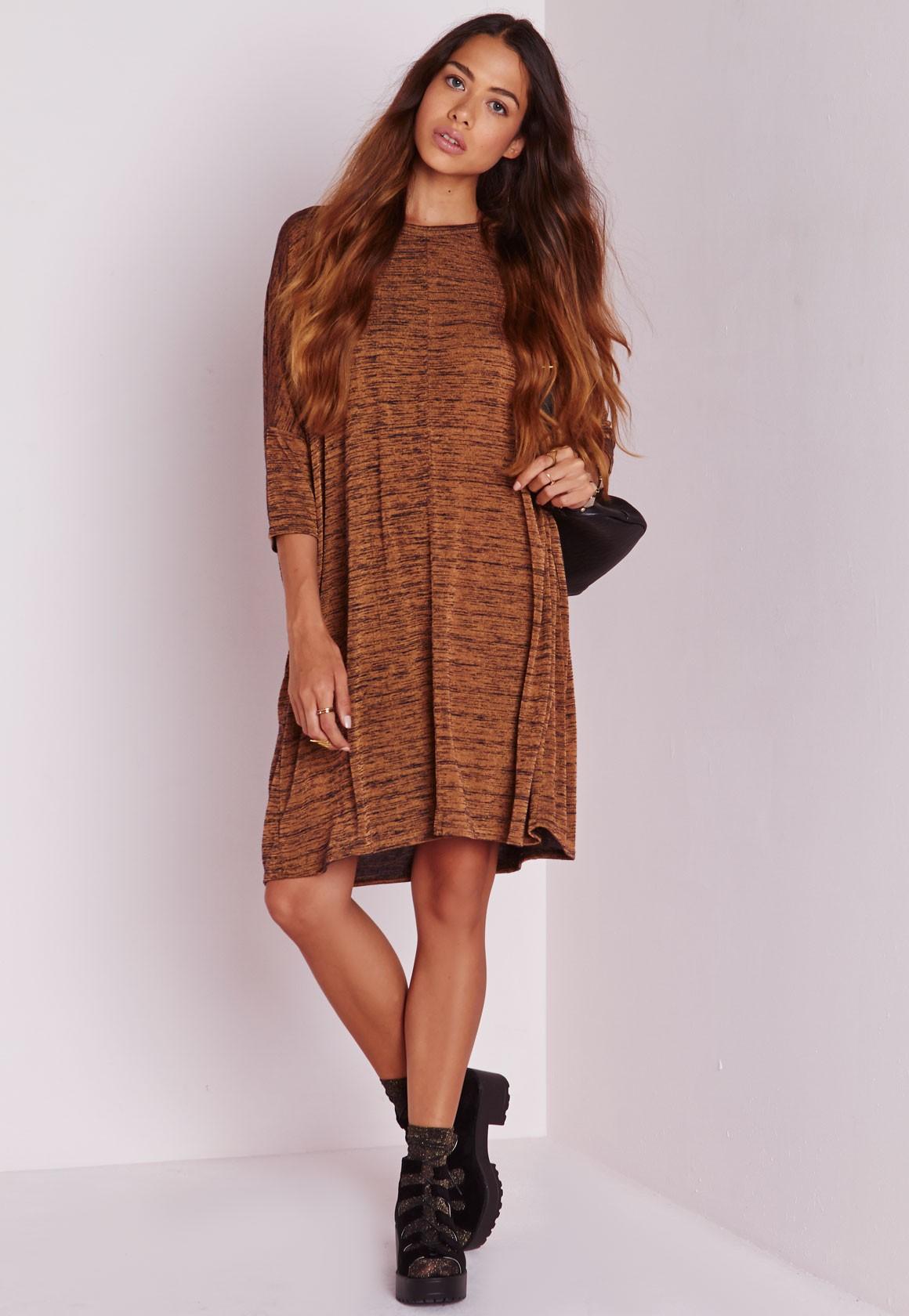 Платье оверсайз коричневое
