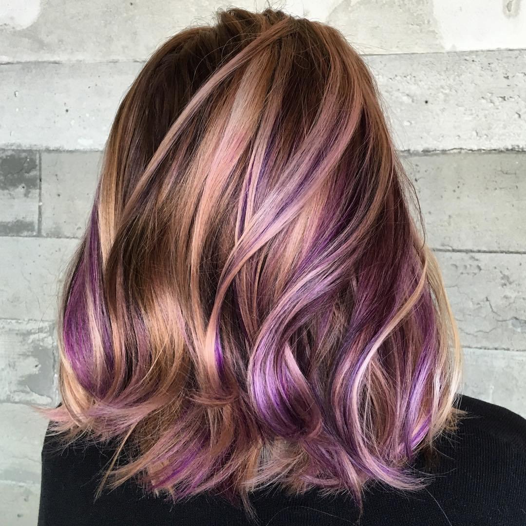 Мелирование волос в фиолетовый 2018