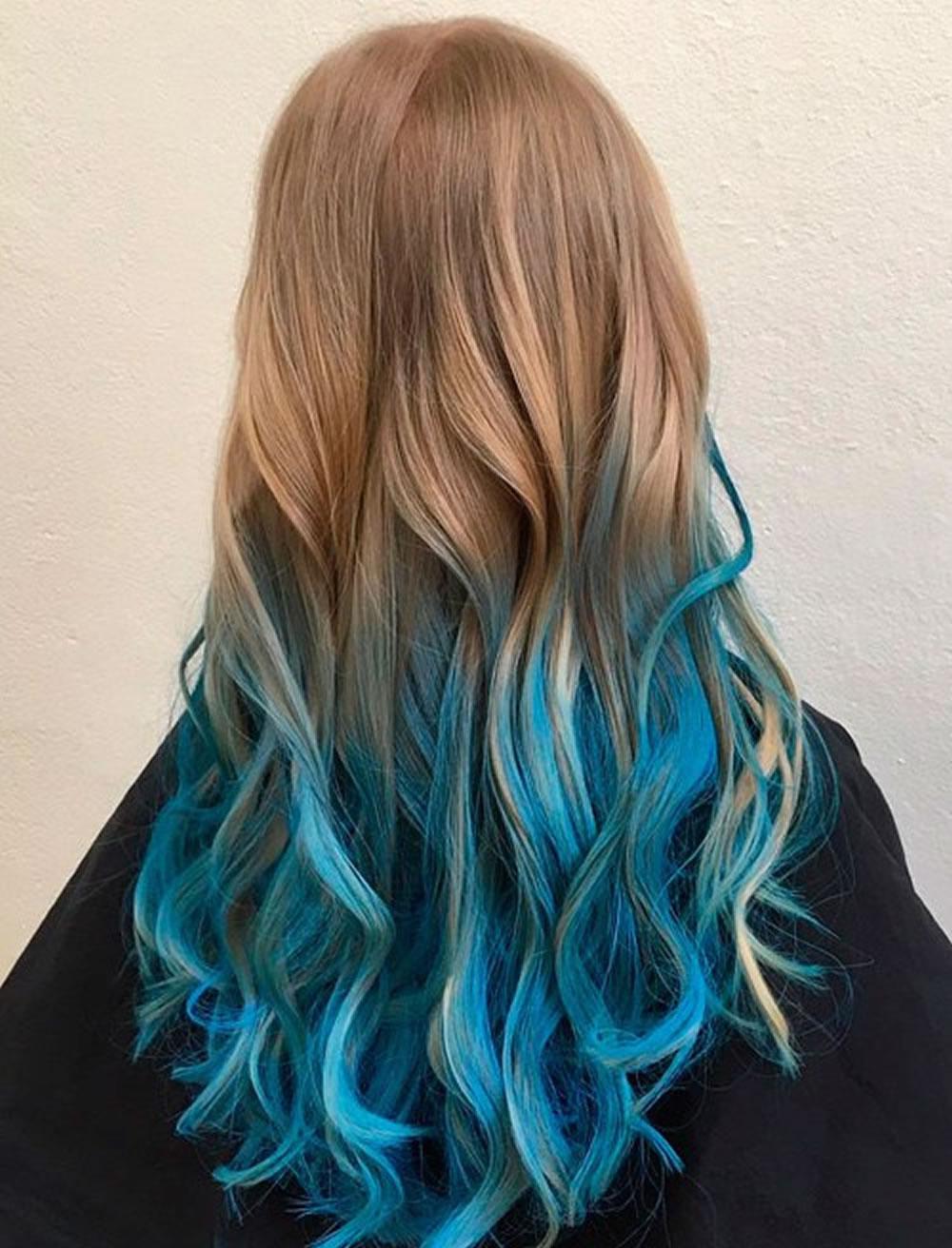 Окрашивание волос 2018 в бирюзовый
