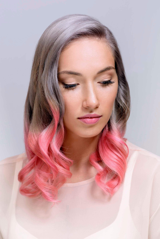 Омбре 2018 серо-розовое