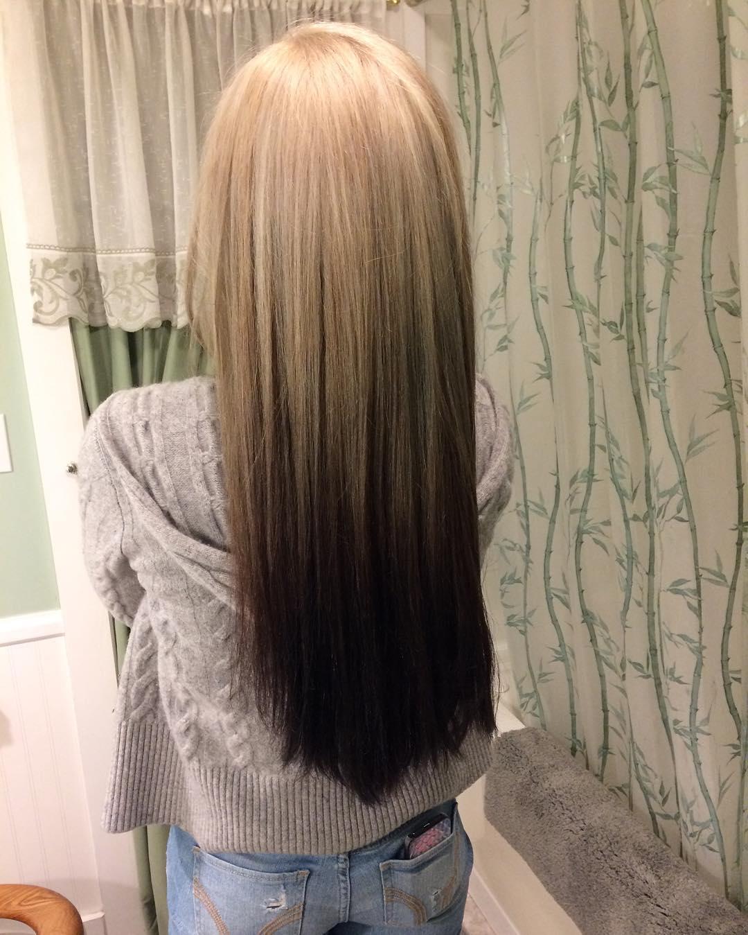 Омбре 2018 на прямые волосы