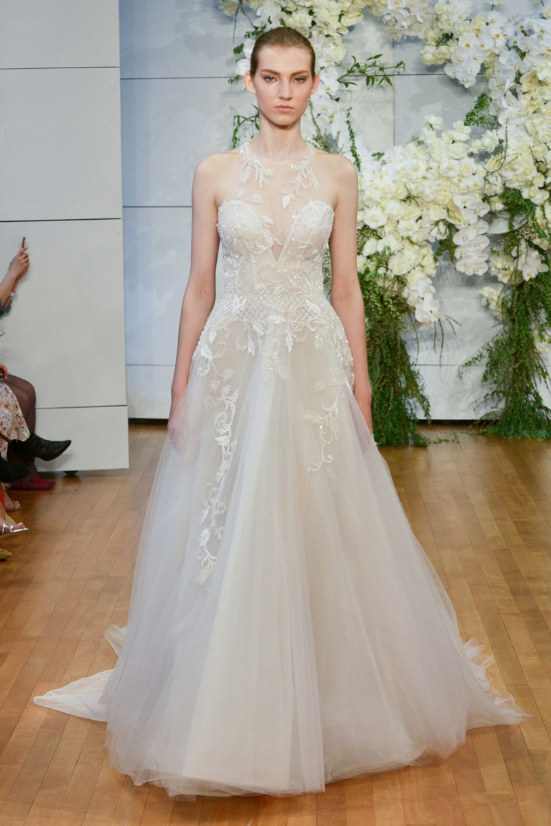 Свадебное платье 2018 прозрачное с вышивкой