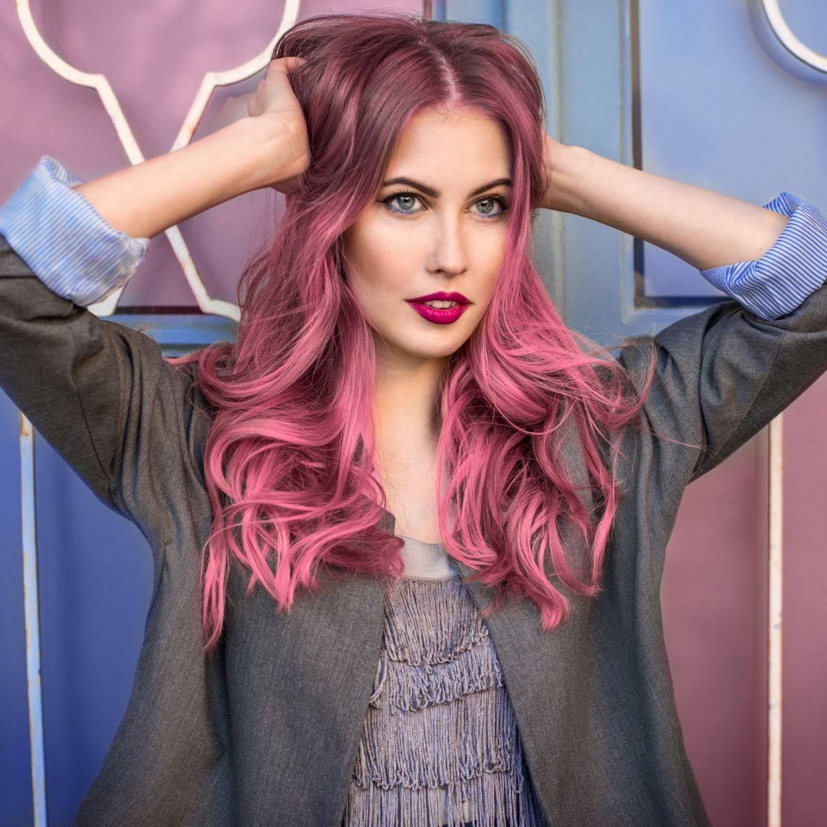 Окрашивание волос 2018 розовое