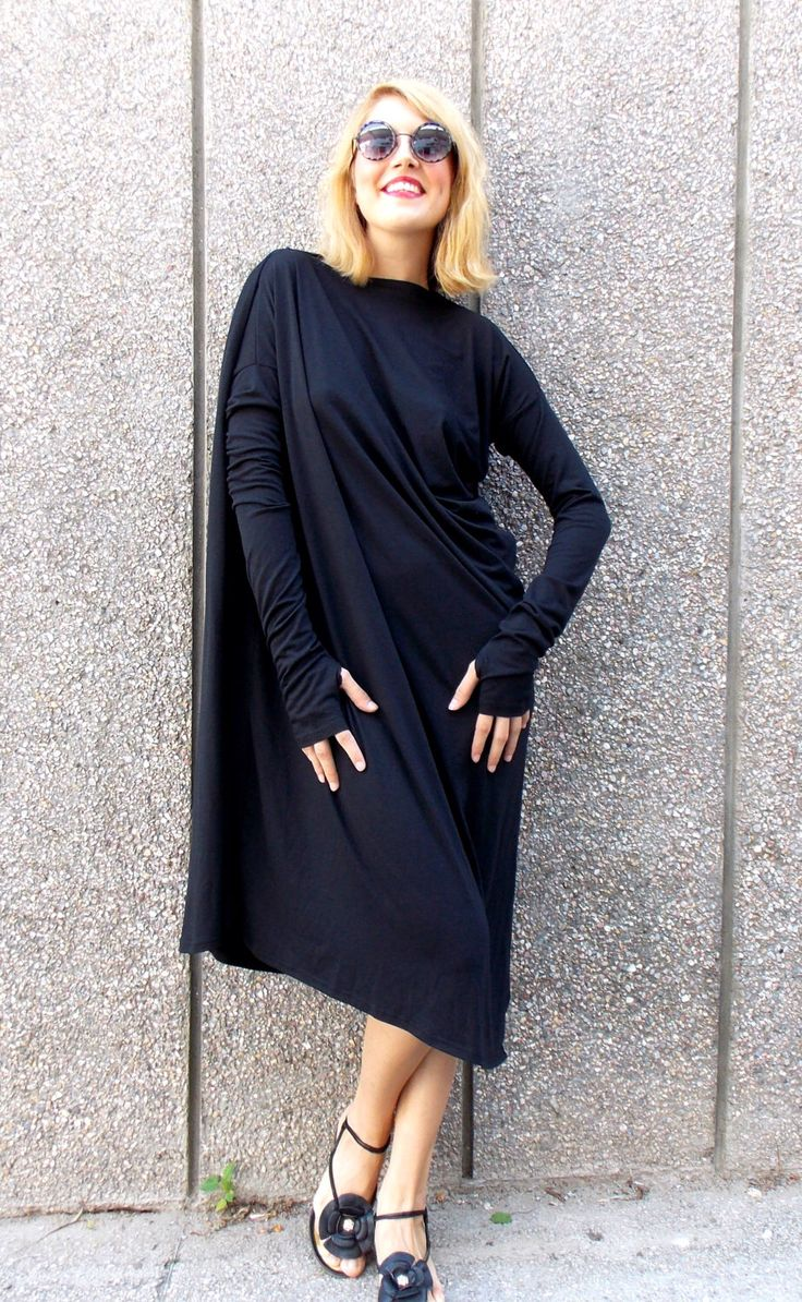 Платье оверсайз с рукавами