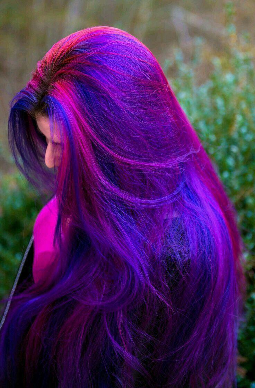 Окрашивание волос 2018 в сине-розовый цвет