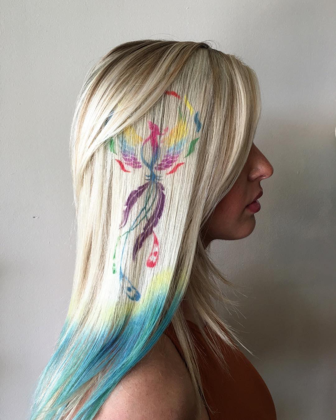 Трафаретное окрашивание волос 2018 цветное
