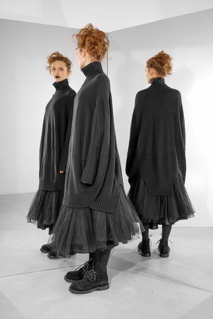 Платье оверсайз трикотажное черное