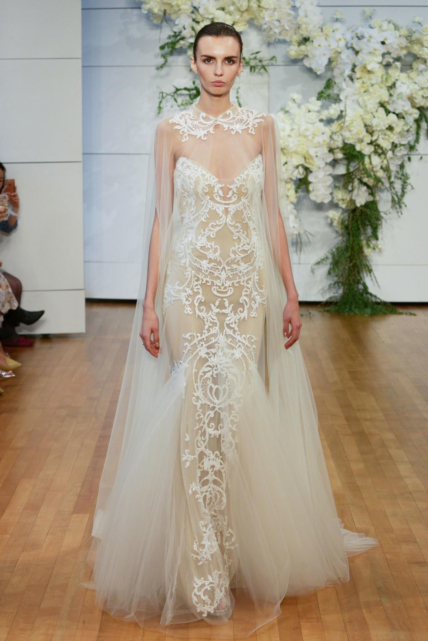 Свадебное платье 2018 с ажурным воротником