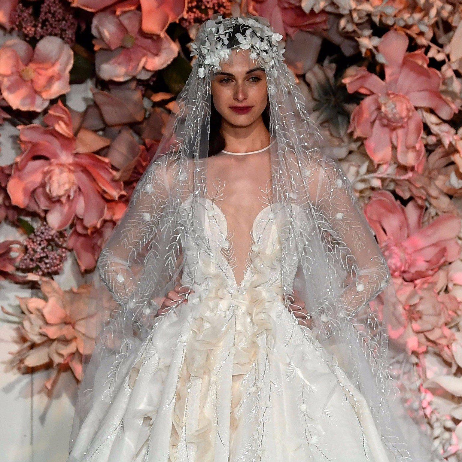 Свадебное платье 2018 с вышивкой на фате