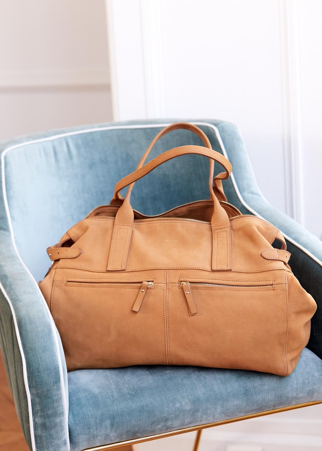 Классическая сумка бежевая с карманами
