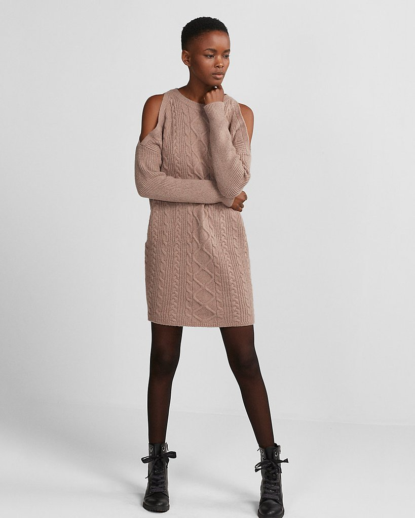 Платье вязаное бежевое с косами