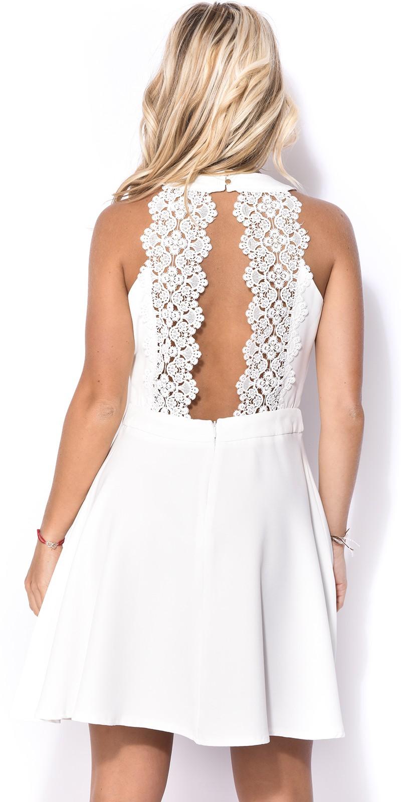 Платье с открытой спиной белое кружевное