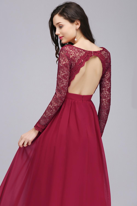 Платье с открытой спиной бордовое вечернее