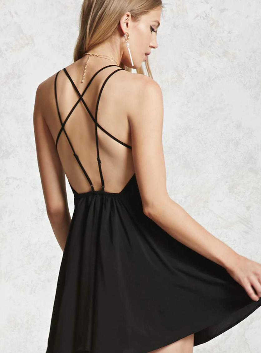 Платье с открытой спиной на бретелях