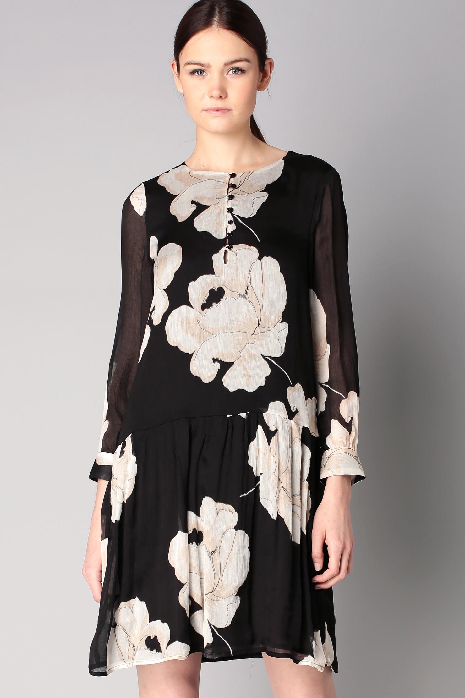 Шелковое платье черно-белое