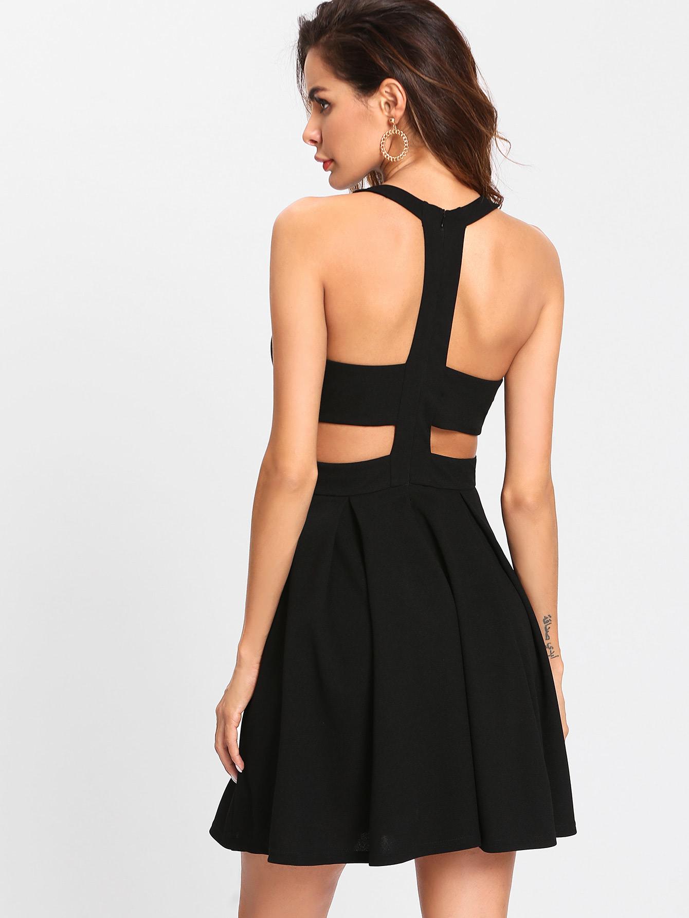 Платье с открытой спиной черное
