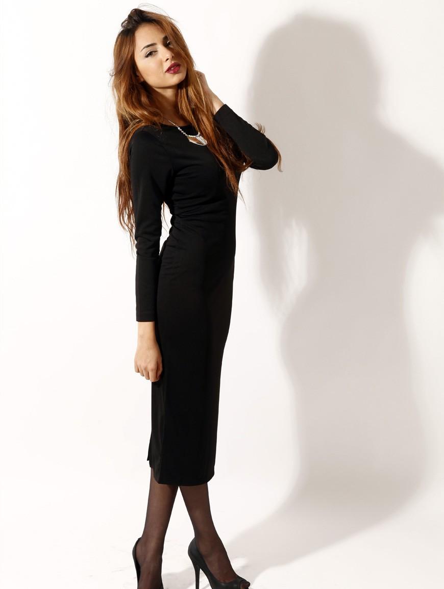 Платье футляр черное длинное