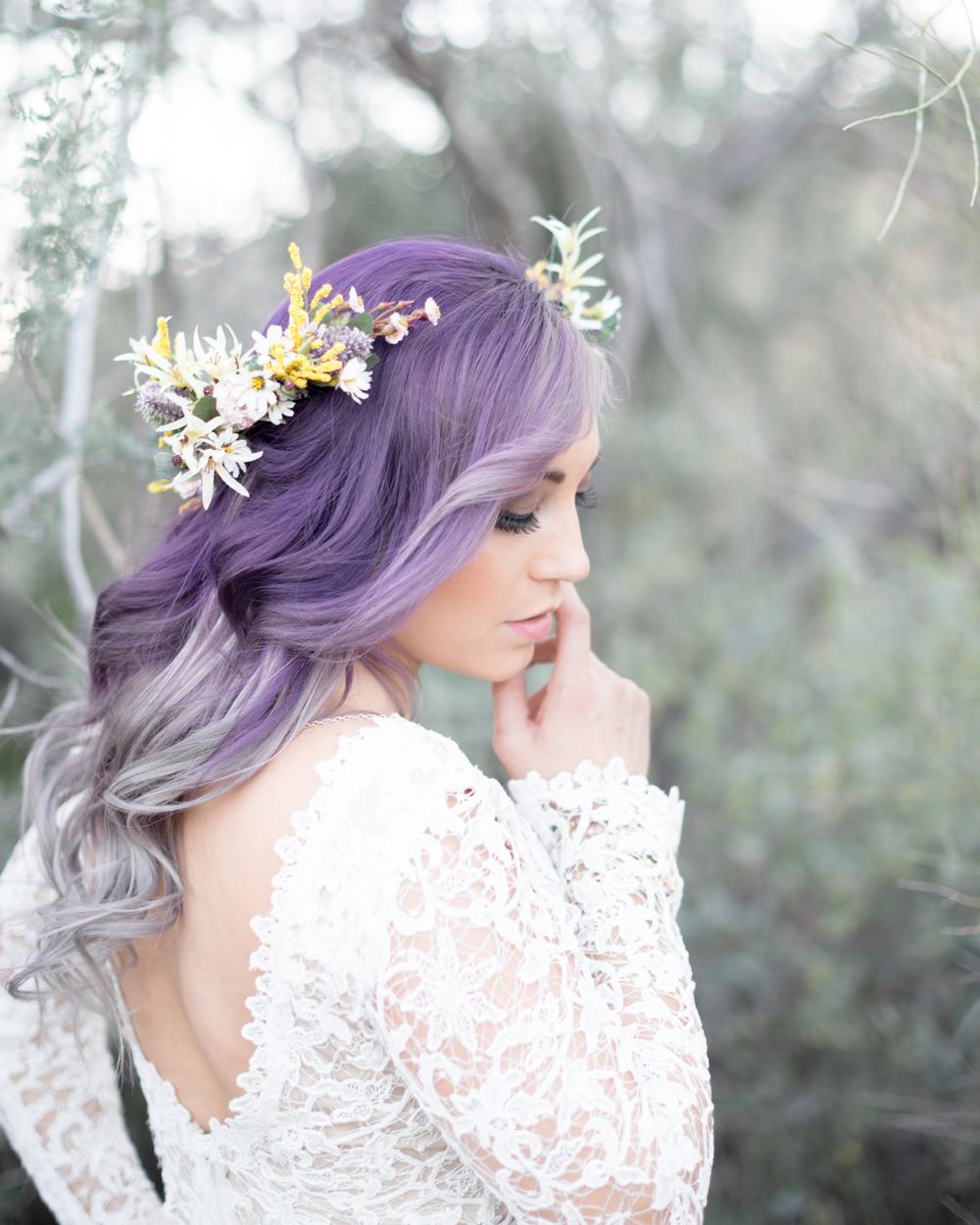 Свадебная прическа 2018 на цветные волосы