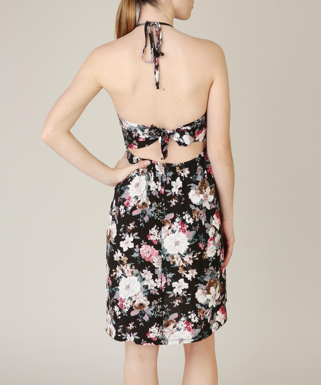 Платье с открытой спиной с цветами