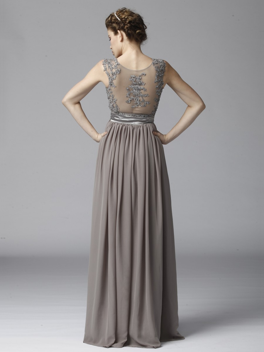 Платье из шифона длинное серое