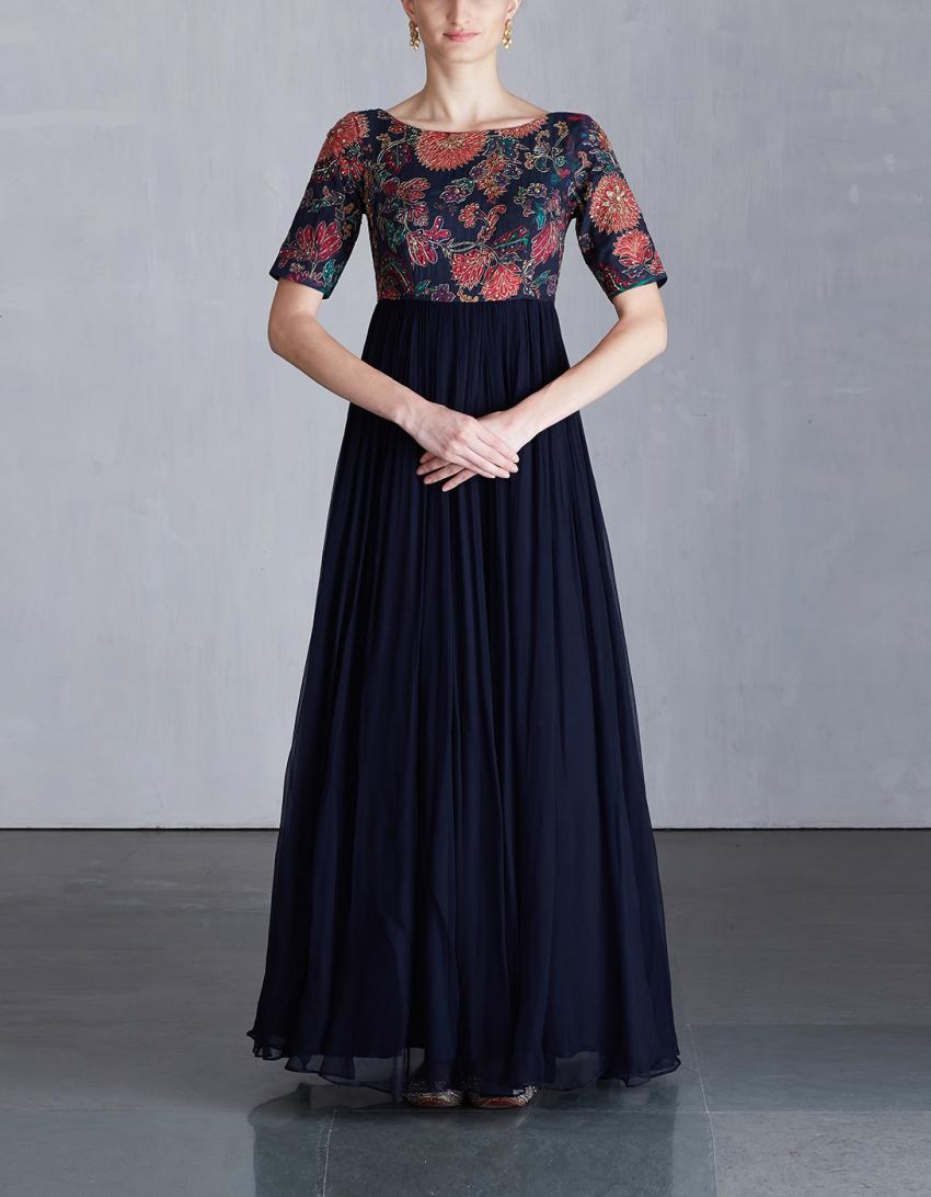 Платье из шифона длинное синее