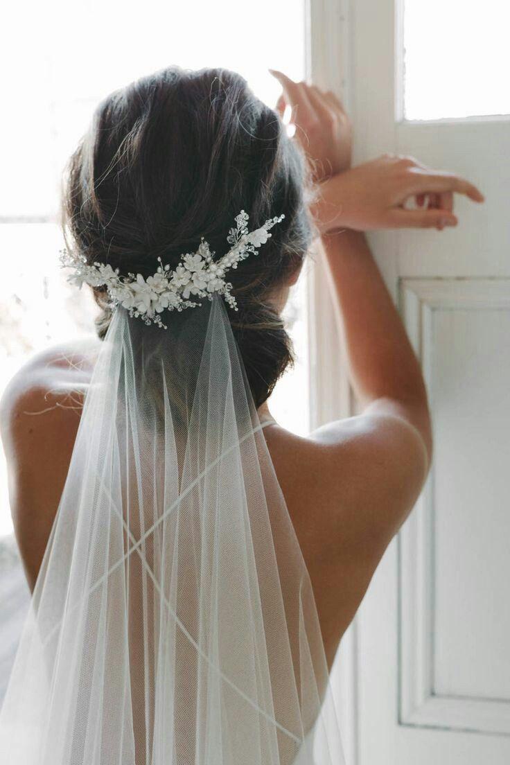 Свадебная прическа 2018 с фатой