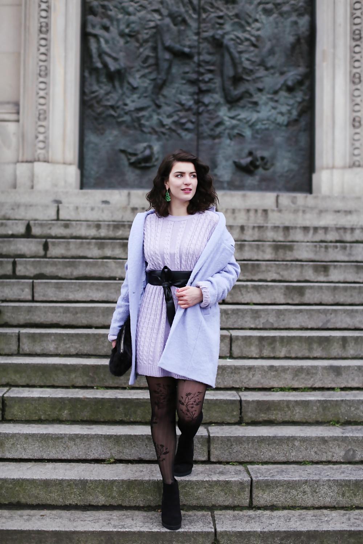 Платье вязаное фиолетовое