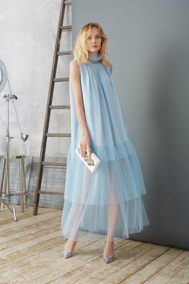 Платье из шифона голубое