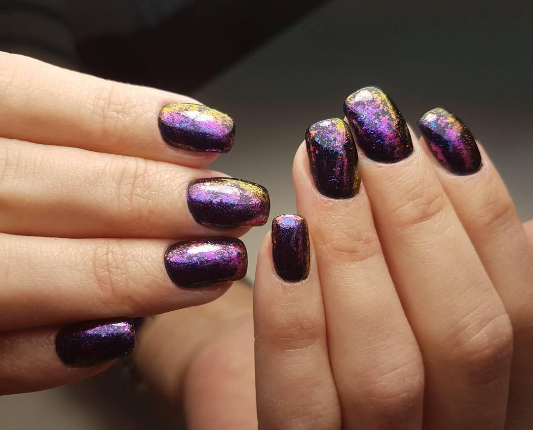 фото дизайн ногтей с хлопьями юка
