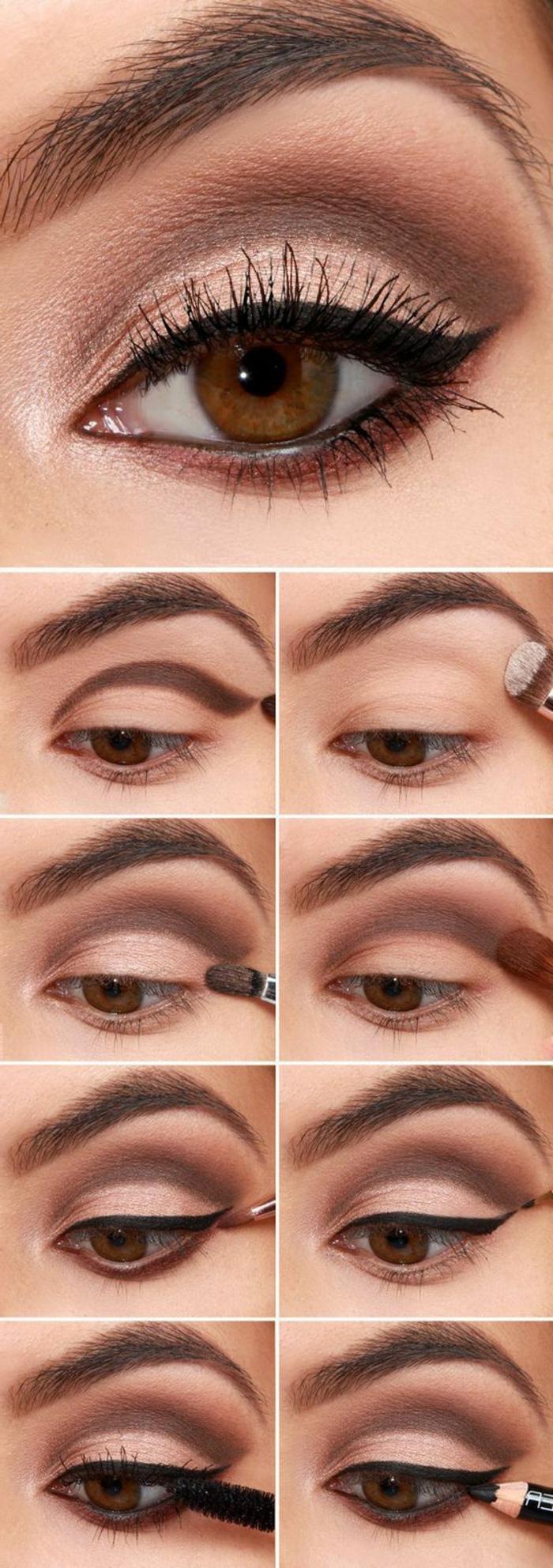 Нюдовый макияж карих глаз