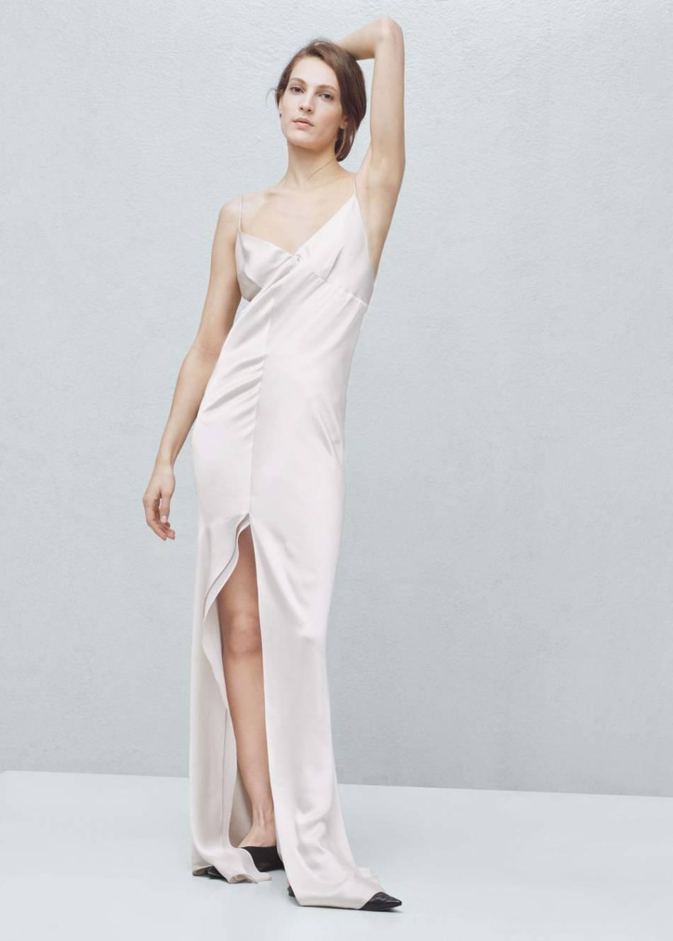Шелковое платье комбинация с разрезом