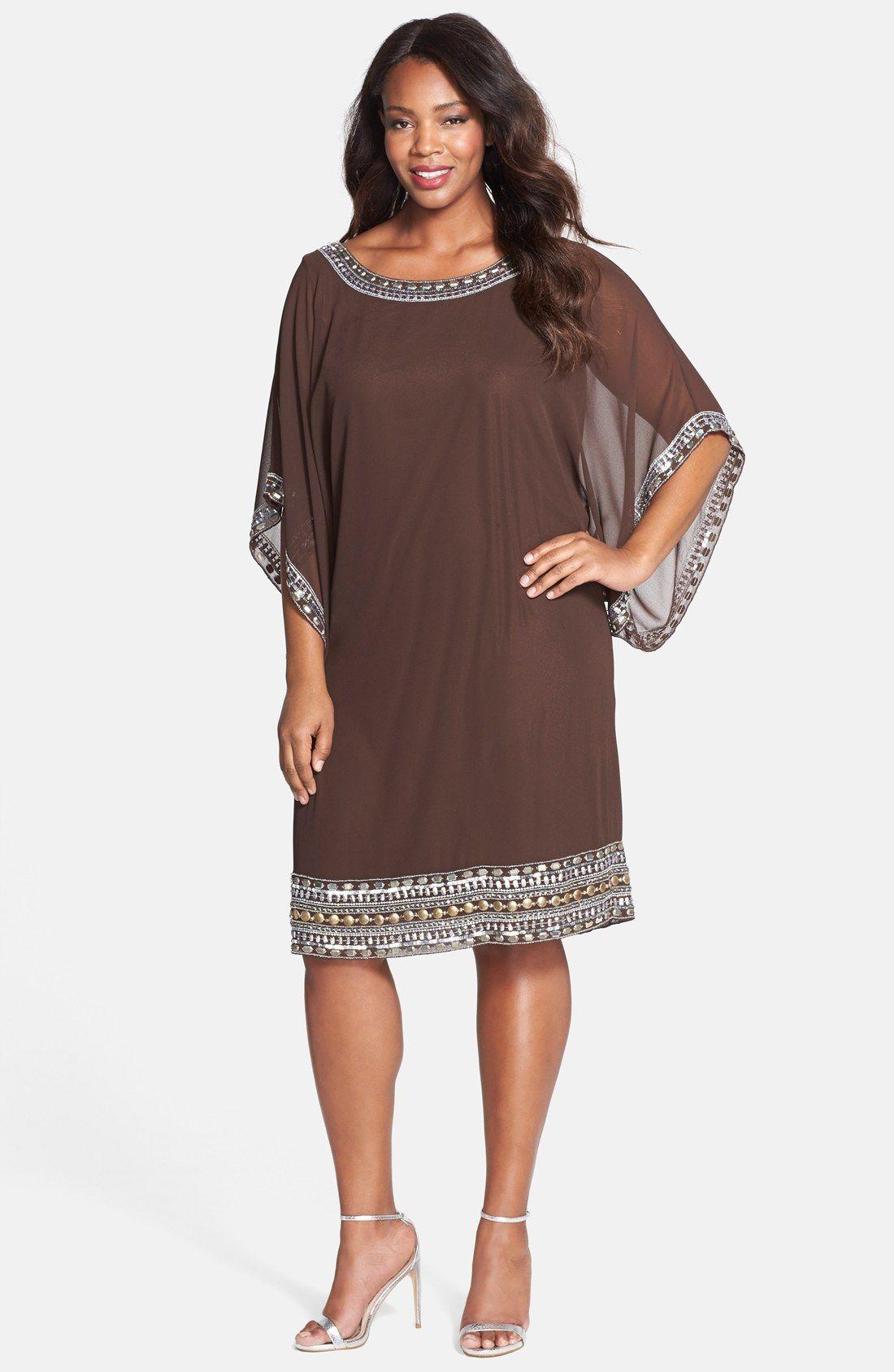 Платье из шифона коричневое для полных